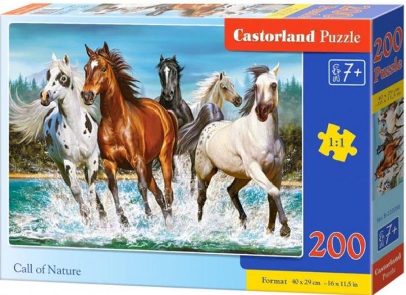 Puzzle Castorland 200 dílků premium - Běžící koně (volání divočiny)