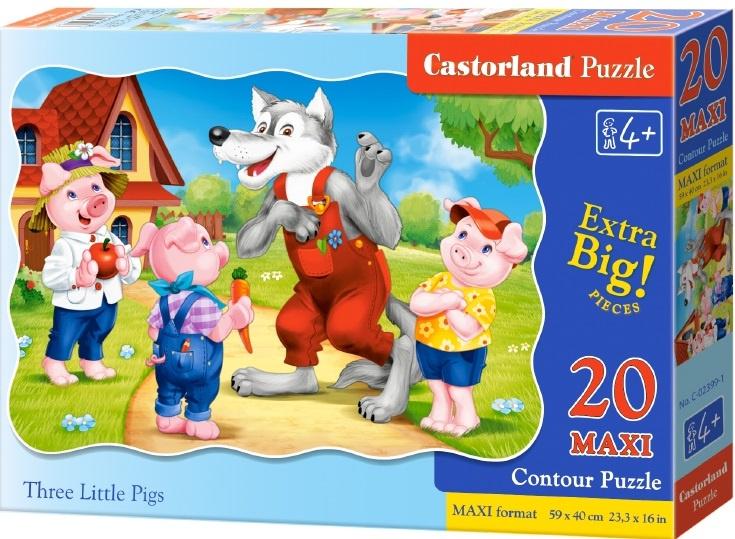 Puzzle Castorland MAXI 20 dílků - Tři malá prasátka