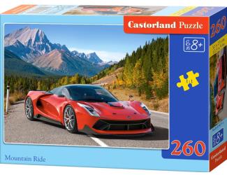 Puzzle 260 dílků- Červené auto v horách