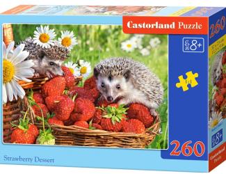 Puzzle 260 dílků - Ježci v jahodách