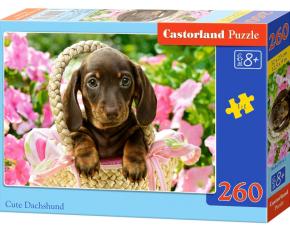 Puzzle Castorland 260 dílků - Roztomilý jezevčík v košíku