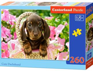 Puzzle 260 dílků - Roztomilý jezevčík v košíku