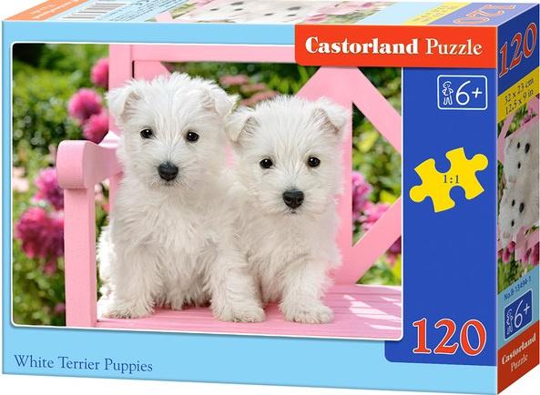Puzzle Castorland 120 dílků - Štěňata bílého teriera
