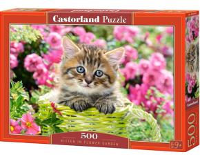 Puzzle Castorland 500 dílků - Kotě v zeleném košíku