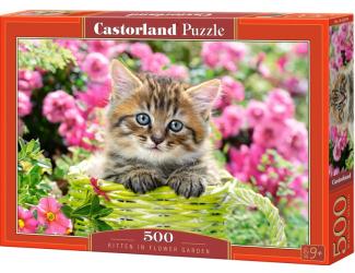 Puzzle 500 dílků- Kotě v zeleném košíku
