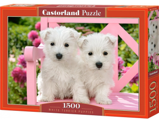 Puzzle 1500 dílků- Bílá štěňata