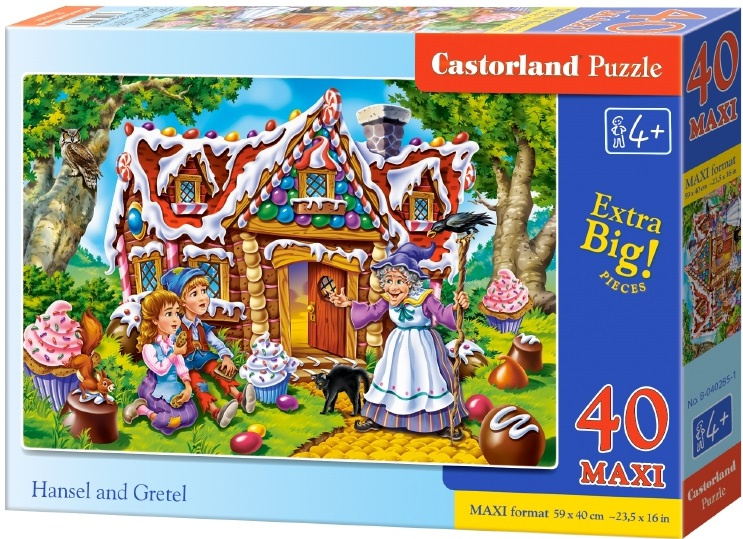 Puzzle Castorland MAXI 40 dílků - Jeníček a Mařenka u Perníkové chaloupky