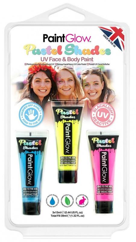 Sada pastelových UV barev - modrá, žlutá, růžová 13 ml