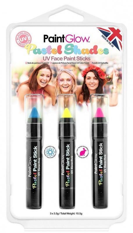 Sada pastelových UV tužek - modrá, žlutá, růžová - 3,5 g