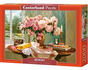 Puzzle Castorland 2000 dílků - Dárek pro Lindsey - stůl s kytkou