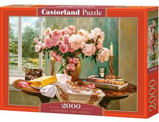 Puzzle 2000 dílků- Dárek pro Lindsey - stůl s kytkou