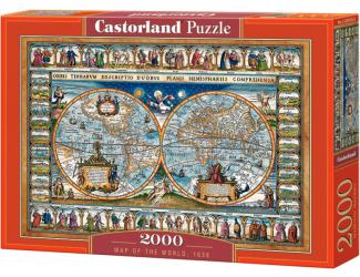 Puzzle 2000 dílků- Mapa světa, 1639