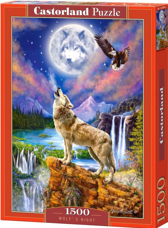 Puzzle Castorland 1500 dílků - Vlk v noci