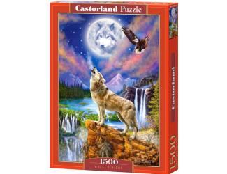 Puzzle 1500 dílků- Vlk v noci