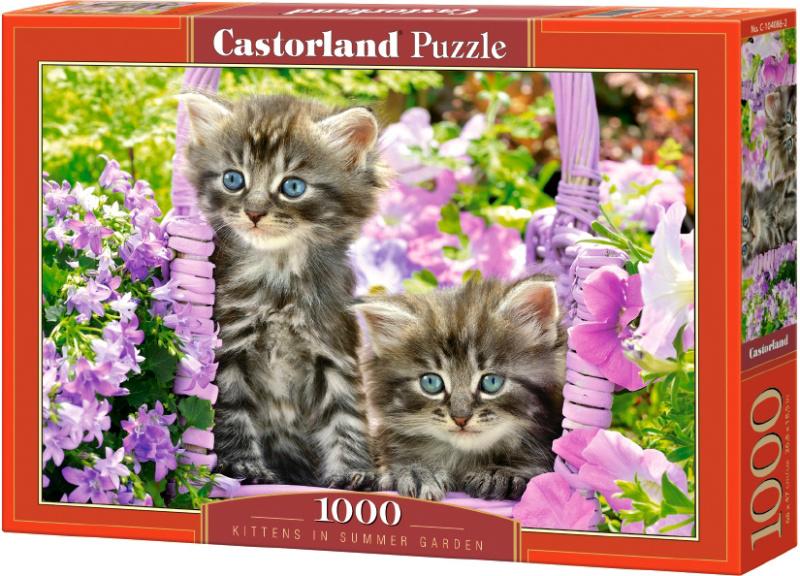 Puzzle Castorland 1000 dílků - Koťata v růžovém koši