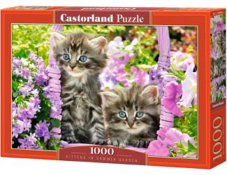 Puzzle 1000 dílků - Koťata v růžovém koši