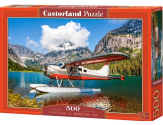 Puzzle 500 dílků-  Hydroplán na horském jezeře