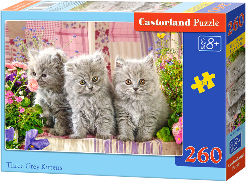 Puzzle Castorland 260 dílků - Tři šedivá koťata