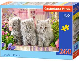 Puzzle 260 dílků - Tři šedivá koťata