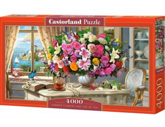 Puzzle 4000 dílků - Letní květiny s šálkem čaje