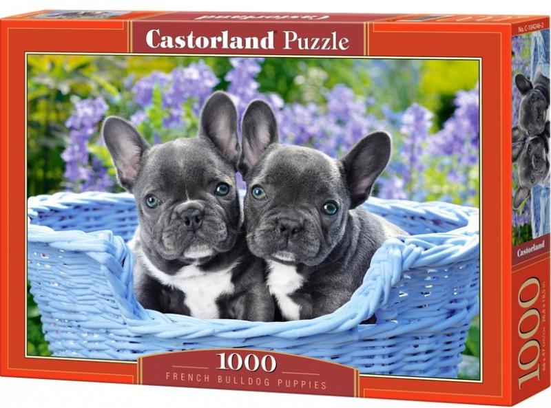 Puzzle Castorland 1000 dílků - Štěňata francouzského buldočka