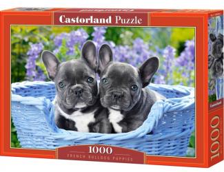Puzzle 1000 dílků - Štěňata francouzského buldočka