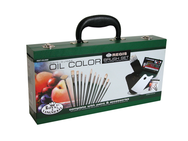 Luxusní sada na malování v dřevěném kufříku - olejové barvy