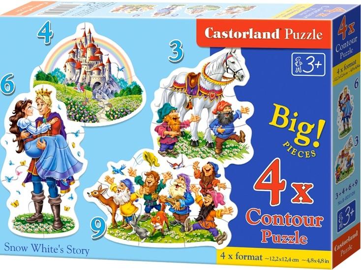 Puzzle Castorland sada 4v1mini - Sněhurka a 7 trpaslíků