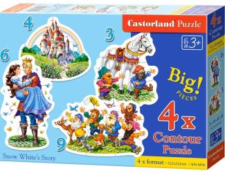 Puzzle sada 4v1mini - Sněhurka a 7 trpaslíků