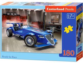 Puzzle 180 dílků - Připraven na závod - modrá formule