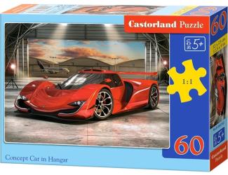 Puzzle 60 dílků - Červené auto v hangáru