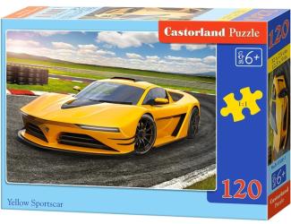 Puzzle 120 dílků - Žluté sportovní auto na trati