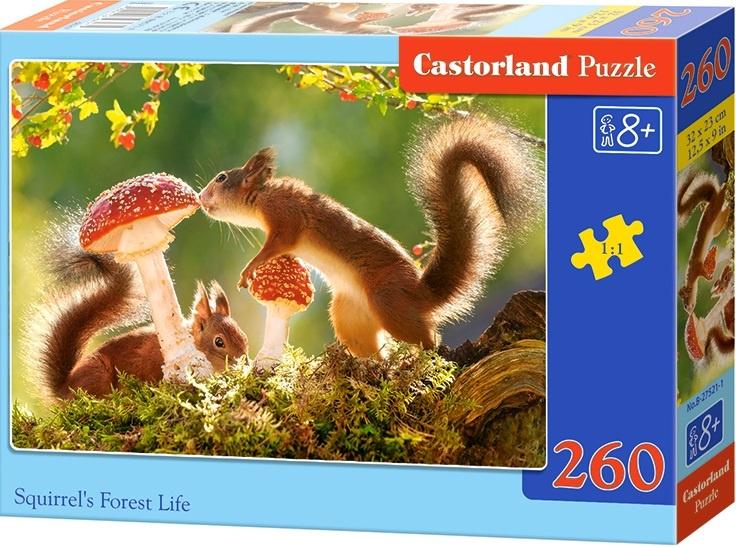 Puzzle Castorland 260 dílků - Veverky s vochomůrkou červenou
