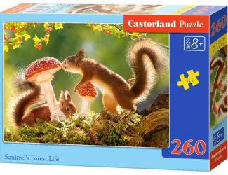 Puzzle 260 dílků - Veverky s vochomůrkou červenou