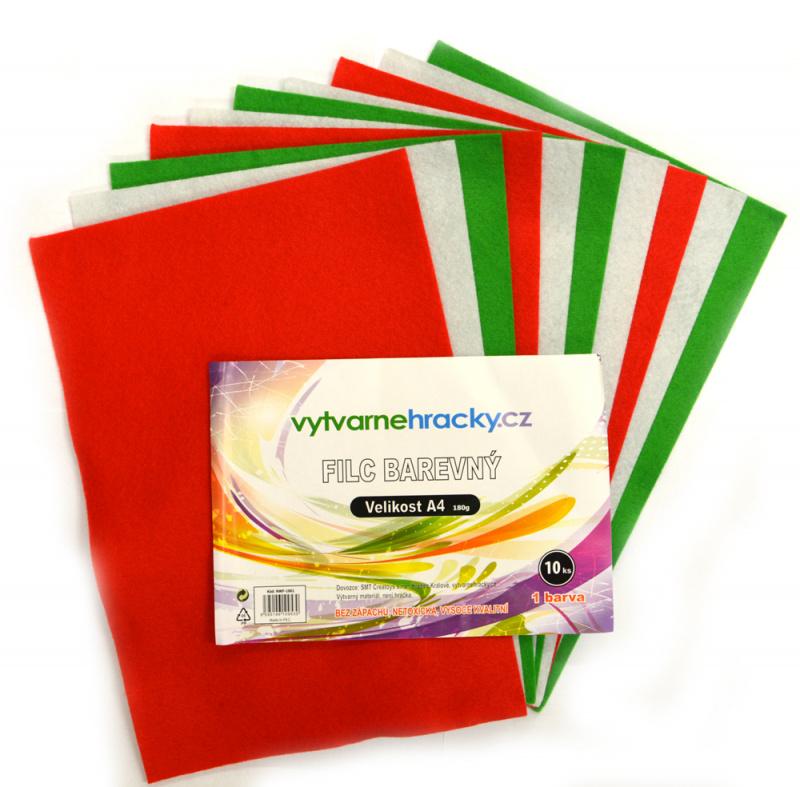 Filc - 10 ks, Vánoční mix - zelená, bílá, červená