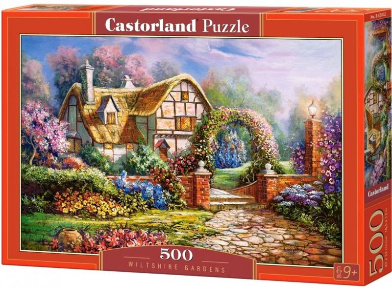 Puzzle Castorland 500 dílků - Wilshirské zahrady (domek s květinovou bránou)