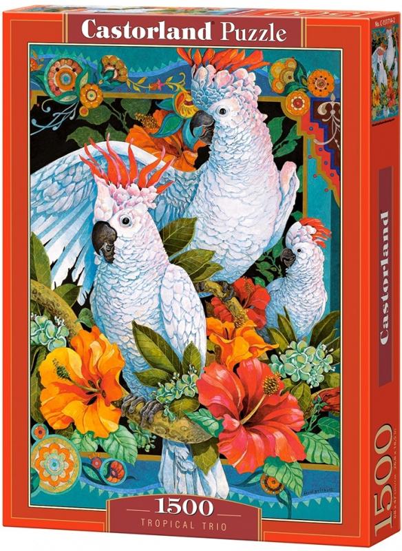 Puzzle Castorland 1500 dílků - Bílí papoušci