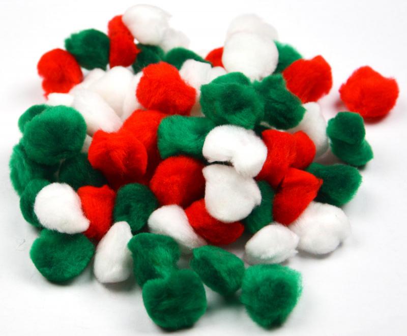 Bambulky - akrylové červené, bílé, zelené - 2,5 cm, 80 ks
