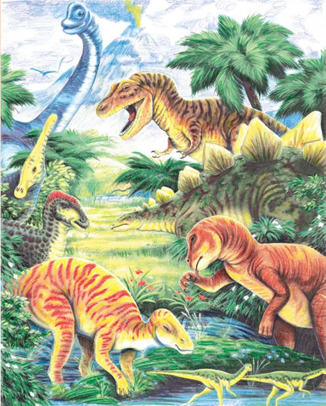 Malování podle čísel PASTELKAMI - Dinosauři