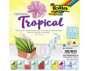 Papíry na skládání Origami, 50 listů, 15x15 cm, 80g – tropical