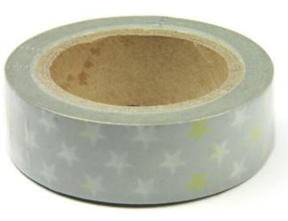 Dekorační lepicí páska - WASHI tape-1ks bílé a zlaté hvězdy na šedivém podklad