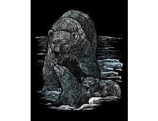 ROYAL and LANGNICKEL Stříbrný vyškrabovací obrázek - Lední medvědi