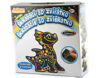 Škrabací 3D draci, 4ks v boxu