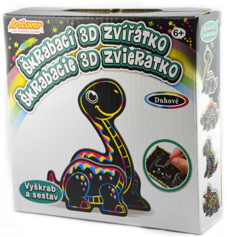 4 x Škrabací 3D Dino