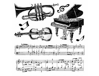 Razítka na stěnu 30x30 cm - Hudební nástroje