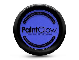 Barva na obličej PAINT GLOW modrá v pudřence se zrcátkem, houbičkou a štětcem