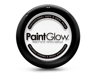 Barva na obličej PAINT GLOW bílá v pudřence se zrcátkem, houbičkou a štětcem