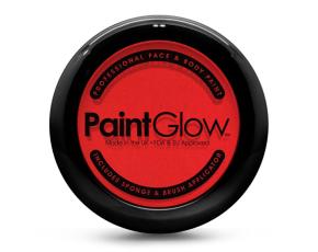 Barva na obličej PAINT GLOW červená v pudřence se zrcátkem, houbičkou a štětcem