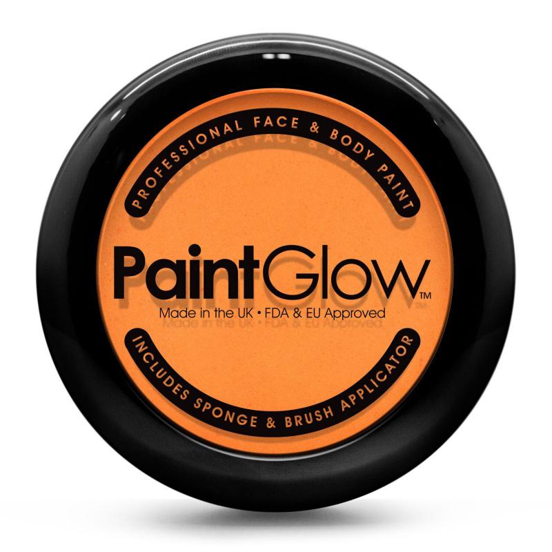 Barva na obličej PAINT GLOW oranžová v pudřence se zrcátkem, houbičkou a štětcem