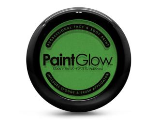 Barva na obličej PAINT GLOW zelená v pudřence se zrcátkem, houbičkou a štětcem